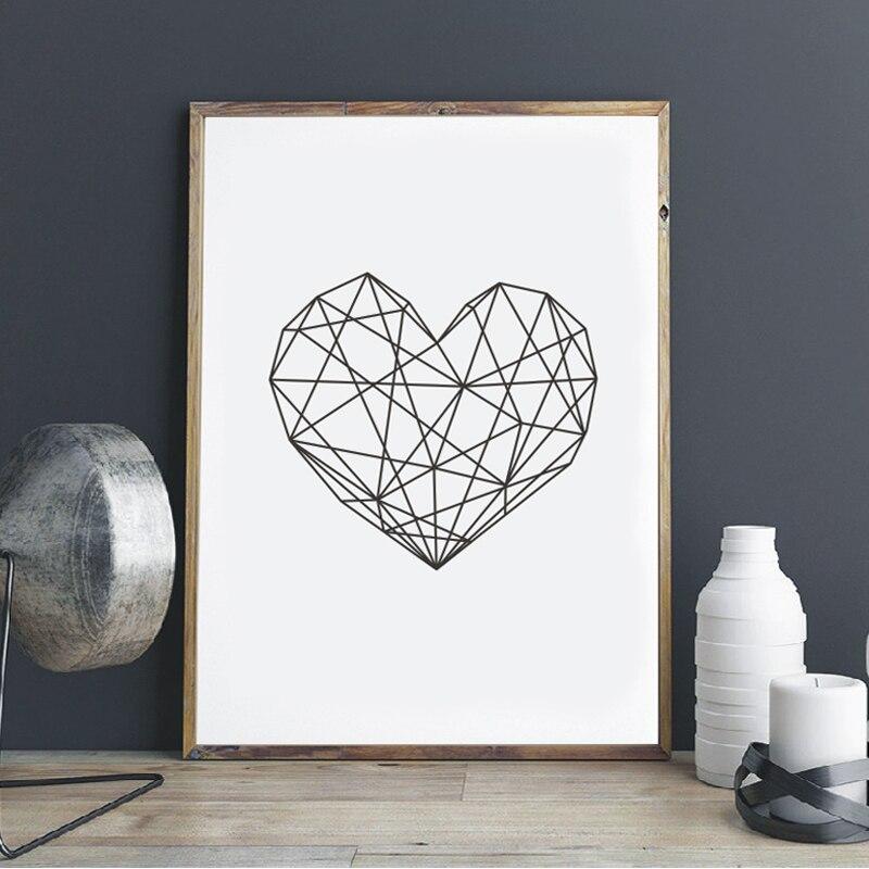 Moderno corazón lienzo impreso arte cartel geométrica, arte de pared de corazón impresiones vivero Oficina Casa Marco de decoración no incluido
