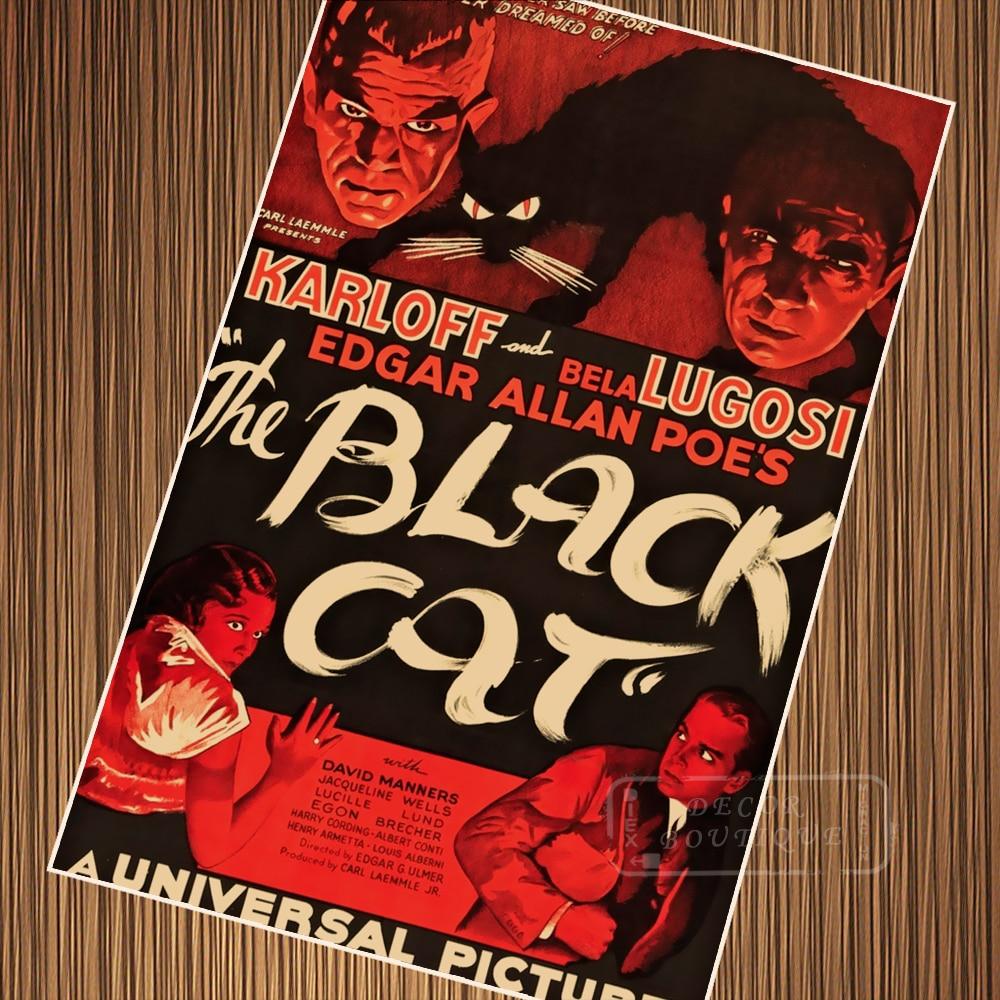 O Gato Preto 1934 Horror Filme Mais Caro Filme Clássico Retro Vintage Poster Pintura Da Lona DIY Papel de Parede Decoração Da Sua Casa presente