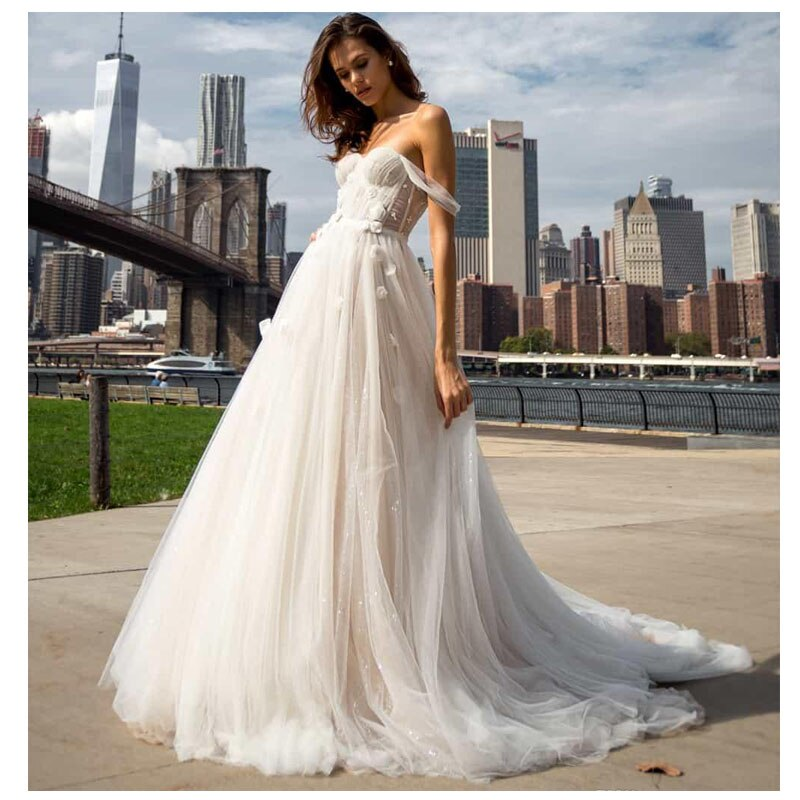 Wedding Dress Off The Shoulder 2019 Bride Elegant Sweetheart Neck Bridal Gown