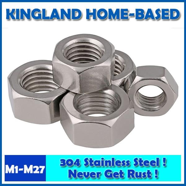 304 Stainless Steel Fasteners DIN934 Hex Nut Metric Thread M1-M27 Hexagon M3 M4 M5 M6 M8 M10 M14 Marine Stainless Wheel Nuts