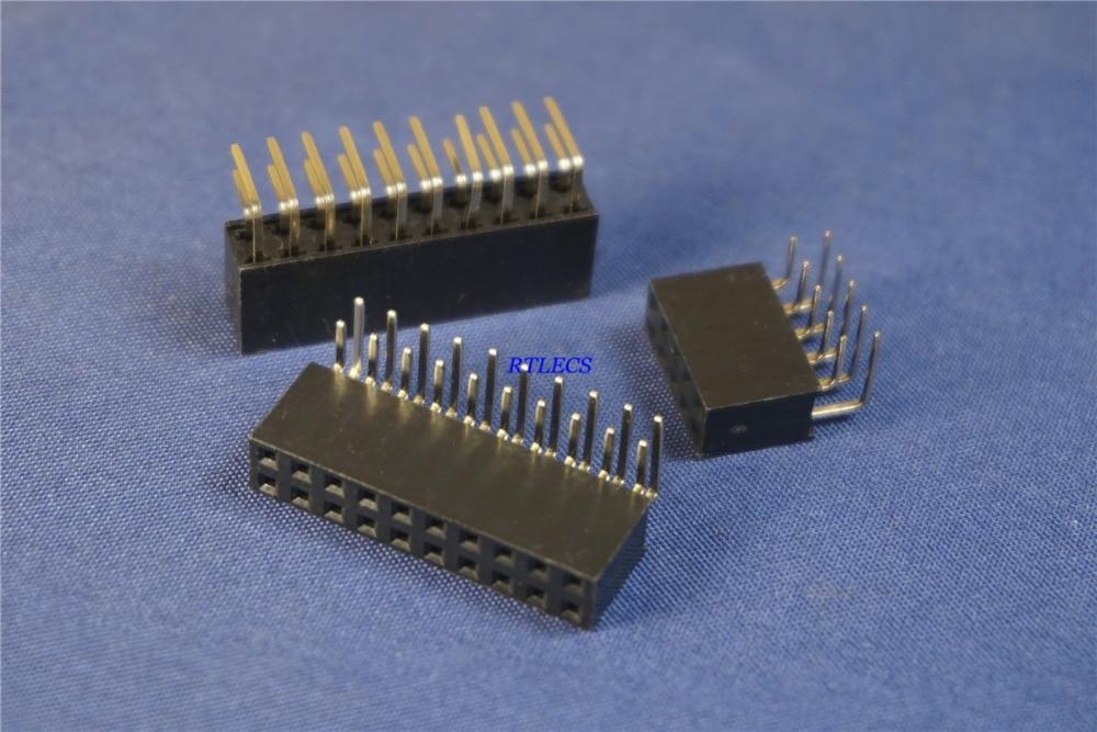 "50 Uds PCB conector hembra Pin 2,54mm 0.100 "", 4 Pin, 6 8 10 12 15 16 18 20 22 24 26 30 32 40 Pin doble fila agujero pasante ángulo recto"