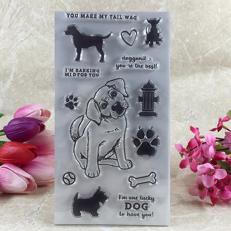 YLCS097 собаки кость силиконовые прозрачные штампы для скрапбукинга карточки-украшения для альбомов тиснение папка ремесло резиновый штамп 11*...
