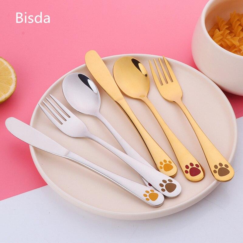 Juego de vajilla de acero inoxidable para niños, juego de vajilla de dibujos animados para niños, juegos de tenedores, juego de vajilla de comida