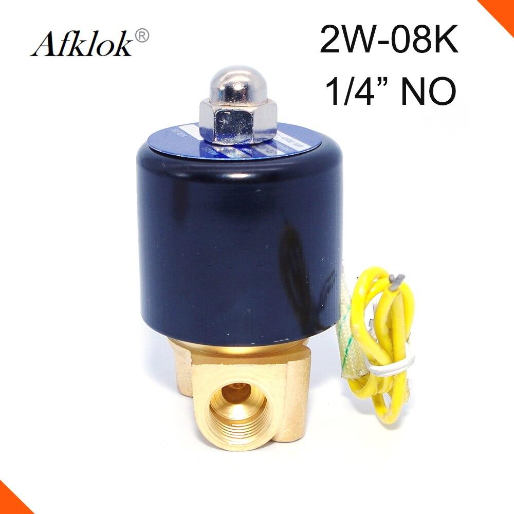 Válvula Solenoide de aceite de gas de agua de 1/4 pulgadas normalmente abierta de latón 2 W-08 K de 24 voltios