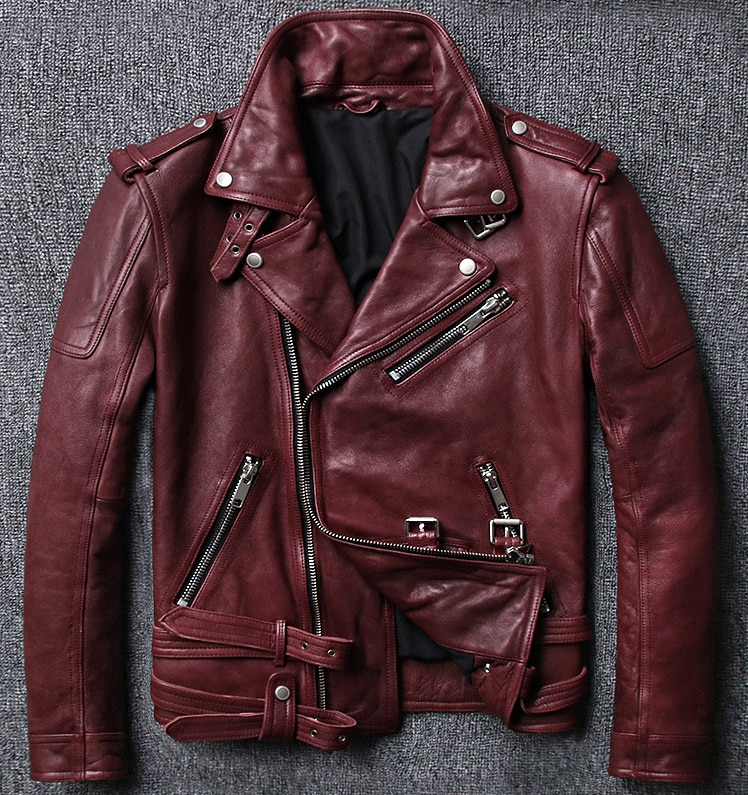 ¡Novedad de 2020! Abrigo italiano de piel de oveja auténtica natural para hombre, chaqueta de motociclista para motocicleta, Chaqueta corta para hombre de color borgoña rojo xxxxl 4xl