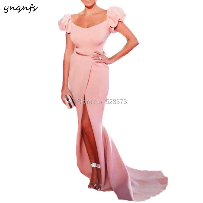 YNQNFS ED216 أنيقة أم العروس فستان المشاهير فستان سهرة رداء عالية شق مثير حورية البحر رداء طويل 2019