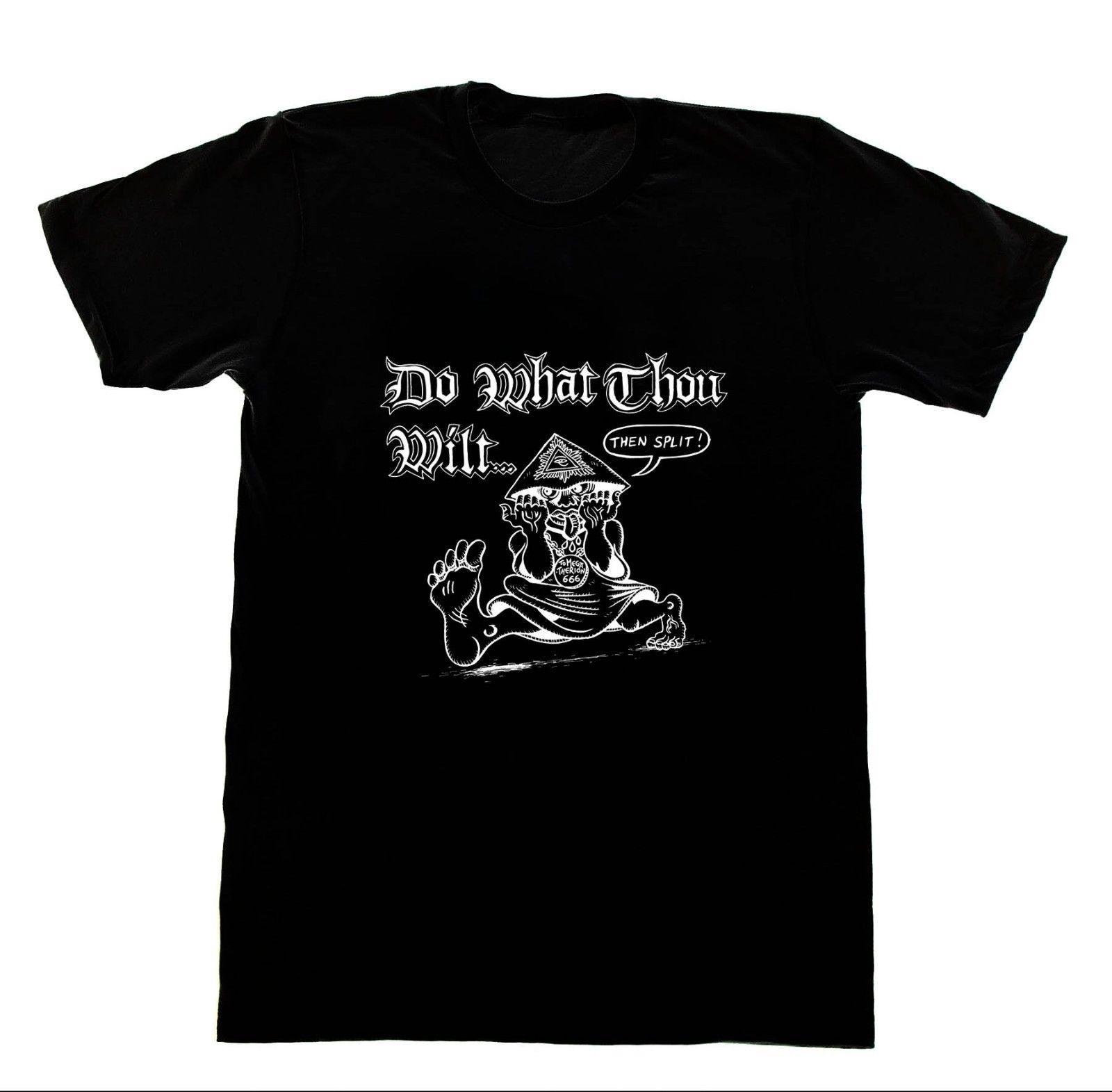 Aleister Crowley-Do What you Wilt camiseta 47 camiseta Satan pentagrama satánico impreso camisetas de manga corta Hipster Tee