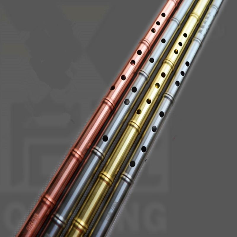 Flauta de Metal Xiao no dizi latón/cobre rojo 80cm G/F clave Xiao flauta transversal profesional Metal Flautas Arma de autodefensa