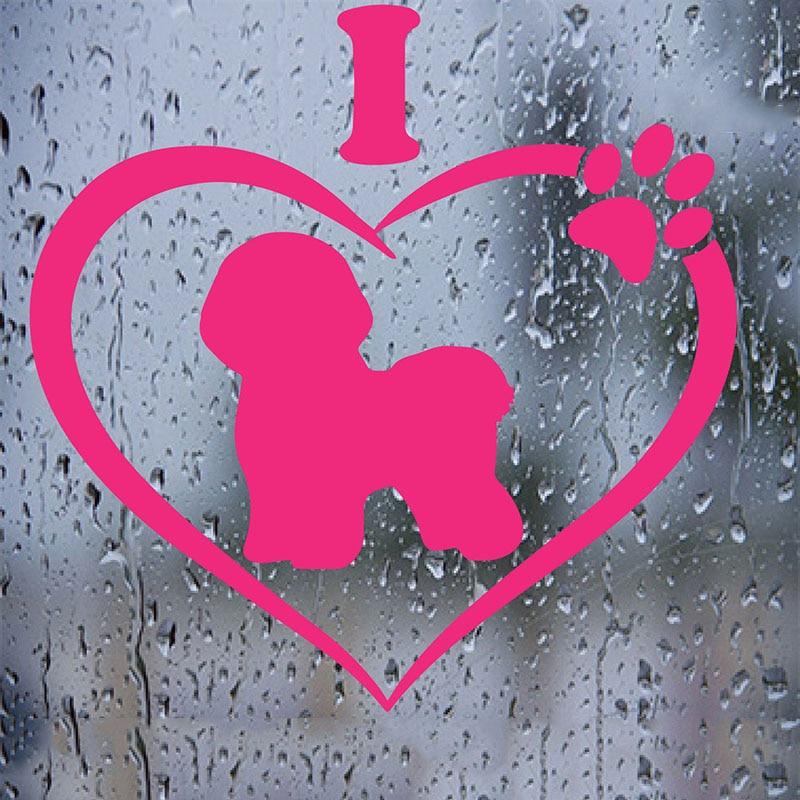 Me encanta mi pegatina de Bichón, pegatina para perro, vehículo, portátil, windows, coche Aufkleber