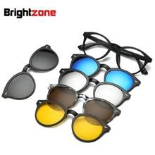 Lunettes de soleil rétro 5 + 1   Jeu de lunettes unisexe Rectangle léger, lunettes polarisées avec Clip, montures de lunettes Rx