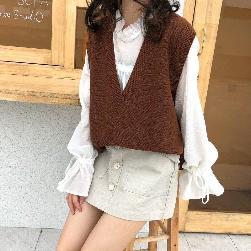 2018 Coreano Ulzzang Outono Colete Solto Sweater Mulheres Casual Sólidos V Neck Mangas Dividir Pullovers de Malha Feminina Camisola Formal