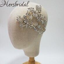 Bandeau de vigne de cheveux de mariée en cristal de luxe à la main casque de mariage superbe bijoux de cheveux de fête pour les mariées