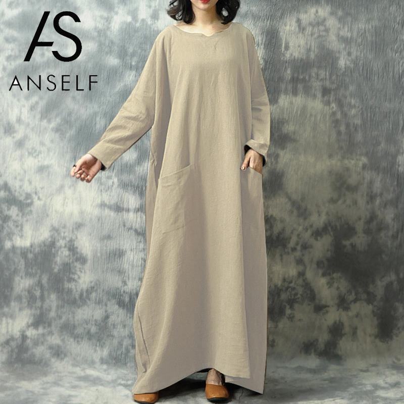 2020 otoño Vintage vestido holgado mujeres largo Maxi vestido Batwing manga larga bolsillo sólido vestido de talla grande étnico vestido femenino