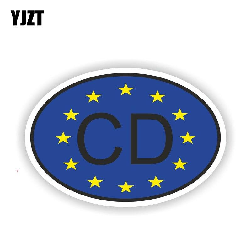 YJZT 13,7 CM * 9,2 CM estilo divertido coche CD Corps código de país táctico pegatina de coche 6-2021