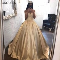 champagne gold 3d floral applique quinceanera dresses 2021 off the shoulder corset ball gown plus size arabic african prom dress