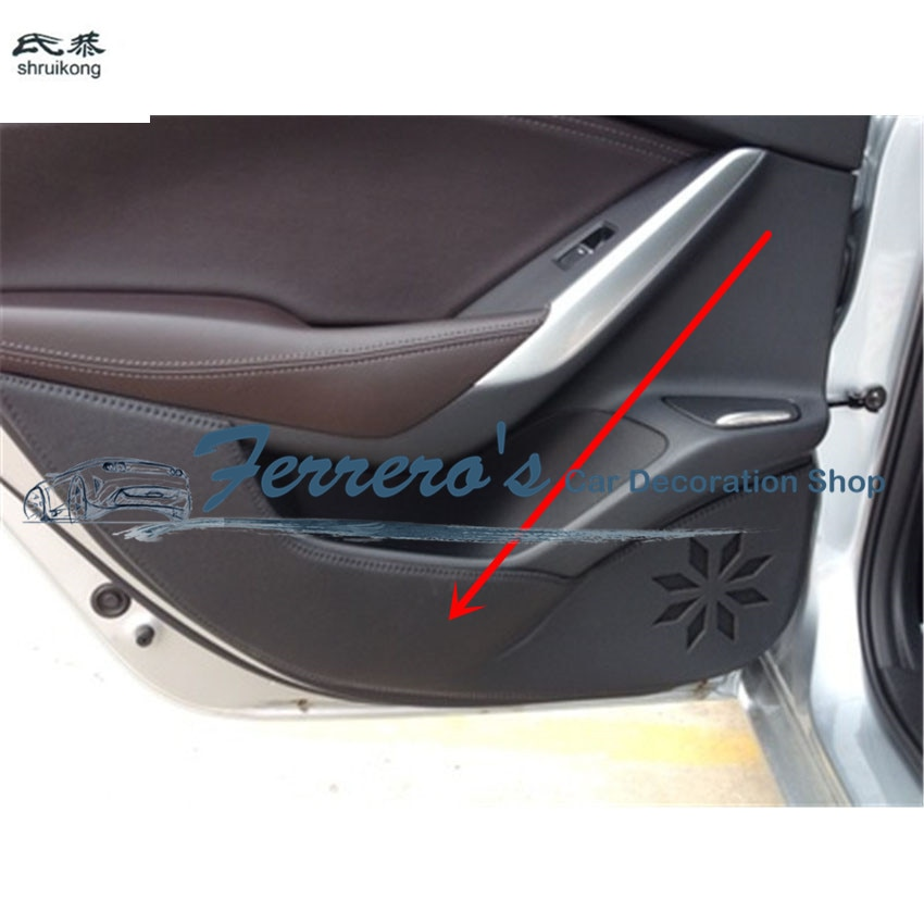 Free shipping 4pcs/lot for 2017-2018 MAZDA ATENZA PU leather car stickers car accessories door protection kick cover