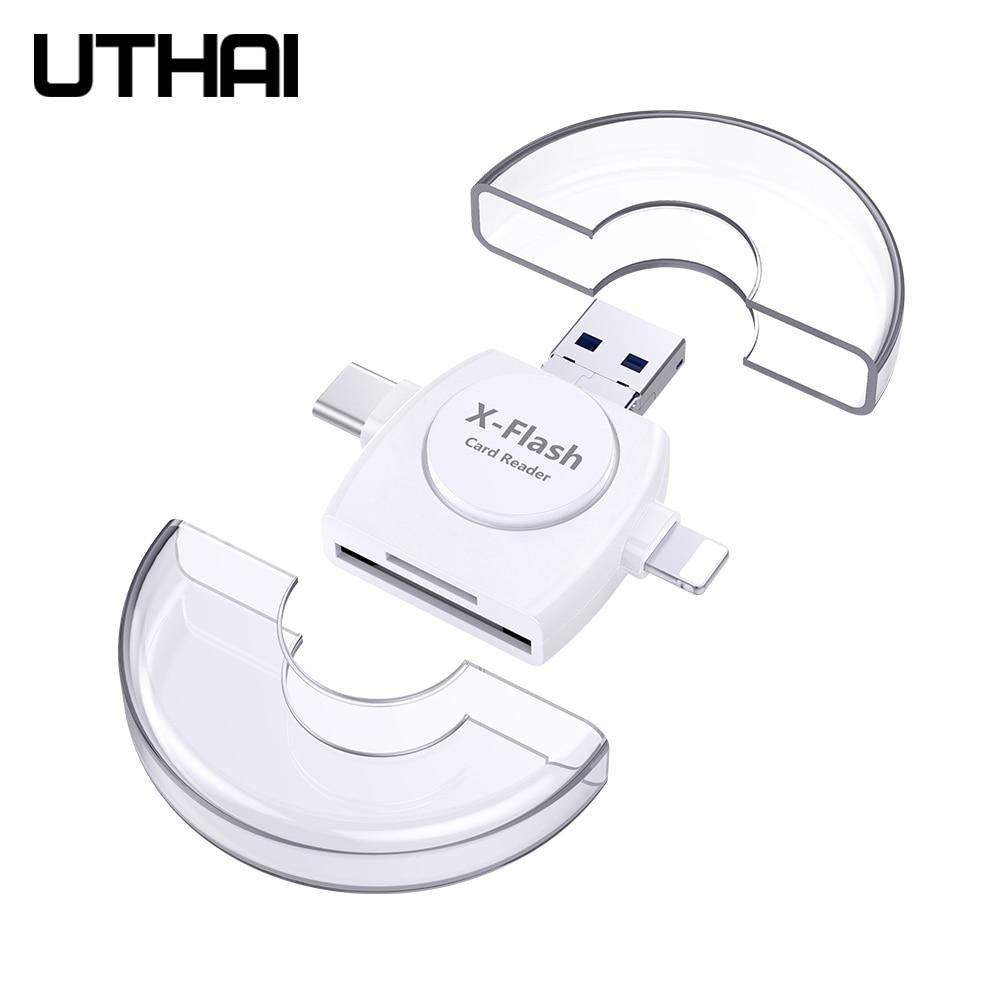 UTHAI R011 4in1 Leitor de Cartão usb-C Micro USB Adaptador MicroSD para Android ipad/iphone 7plus 6s5s macBook OTG TF SD leitor