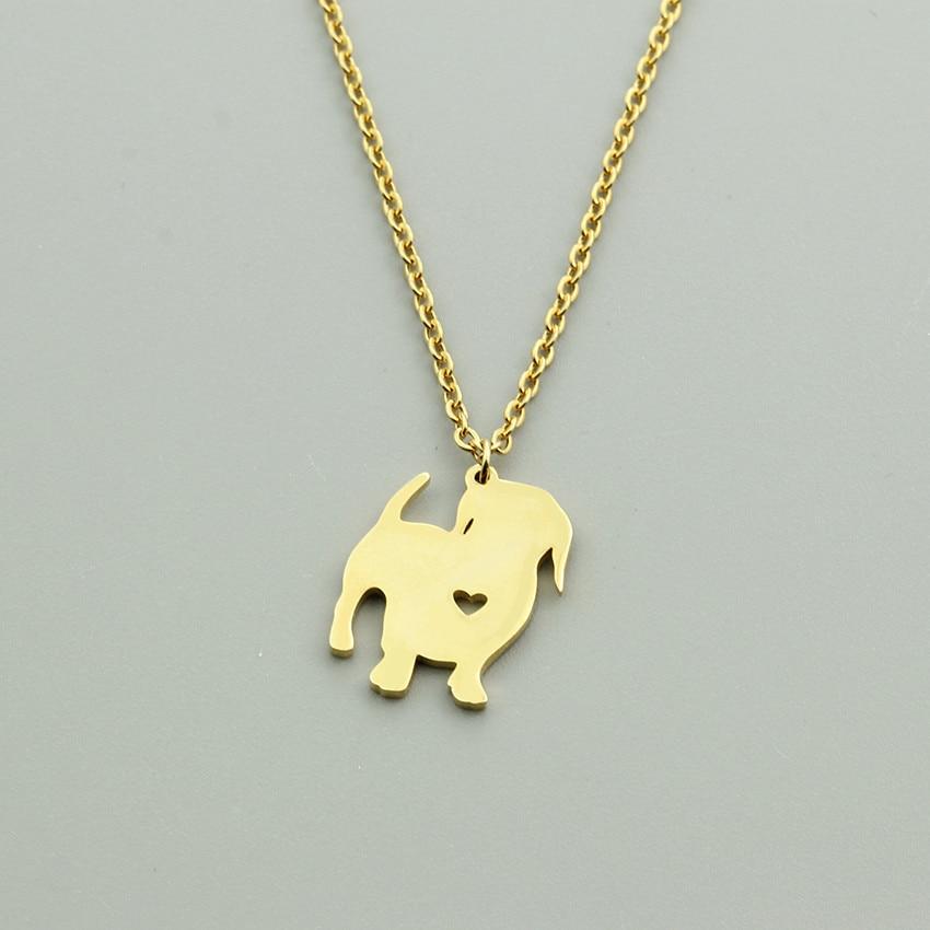 Collar con colgante de Dachshund de corazón lleno de oro, joyería de acero inoxidable para hombre y Mujer