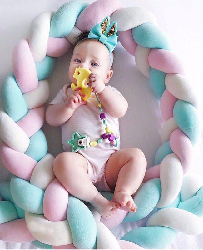 1 قطعة 2M الطفل اليدوية الوليد السرير الوفير طويلة معقود جديلة وسادة سرير بيبي الوفير عقدة سرير الرضع غرفة ديكور