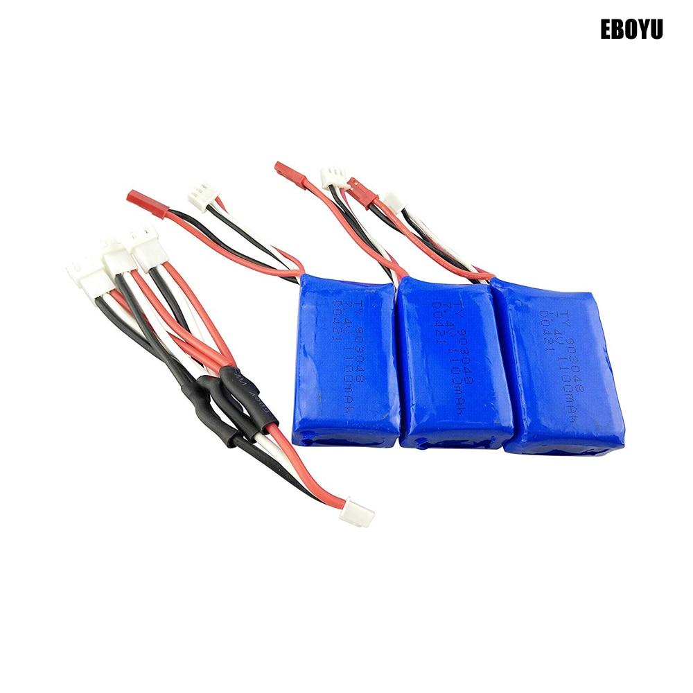 3 uds 7,4 V 1100mAh Lipo batería + 1 a 3 Cable de cargador para WLtoys V353 A949 A959 A969 A979 S989 V912 MJX T23 T55 F45 RC coche de juguete