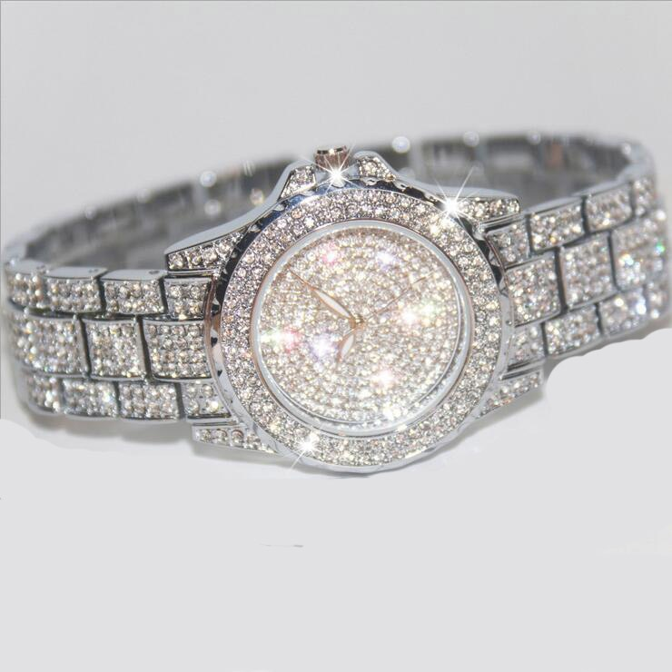 Famous Brand Bling Rose Gold Crystal Watch Stylish Women Luxury Sparkly Shinning Diomand Rhinestone Bangle