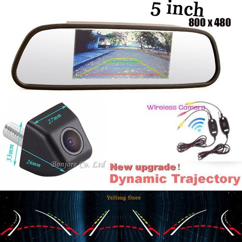 All in one hd  5''car LCD 800 x 480 mirror monitor& Intelligent Dynamic Trajectory Tracks CCD Backup Camera 170 degree Wireless