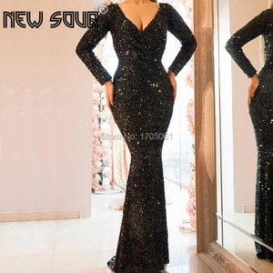 Glitter Black Evening Dresses Dubai Design V neck Mermaid Muslim Arabic Formal Prom Dress For Weddings Abendkleider Turkey 2019