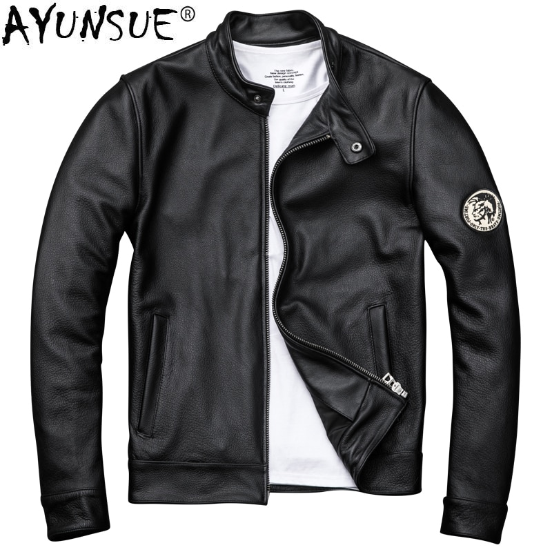 AYUNSUE Genuine Cow Leather Jacket Men Clothes 2020 Autumn New Real Leather Motorcycle Jackets Short Coat Jaqueta De Couro ZL406