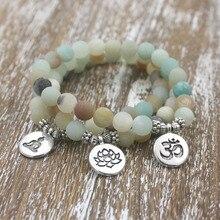 1 pièces 8mm mat givré Amazonite perles avec Lotus OM bouddha breloque Yoga Bracelet en gros