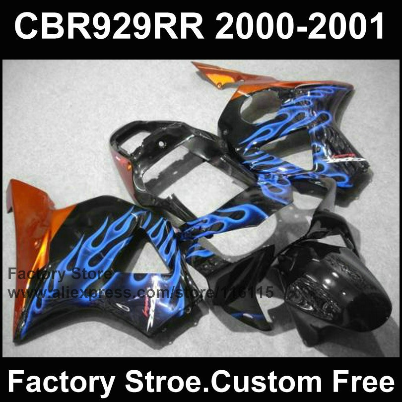 Kit de carenado para HONDA 2000 2001 CBR929RR CBR 929 00 01 CBR900RR fireblade azul llama carenados partes del cuerpo
