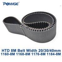 POWGE HTD 8M synchronous Timing belt C=1160/1168/1176/1184 width 20/30/40mm Teeth 145 146 147 148 HTD8M 1160-8M 1176-8M 1184-8M
