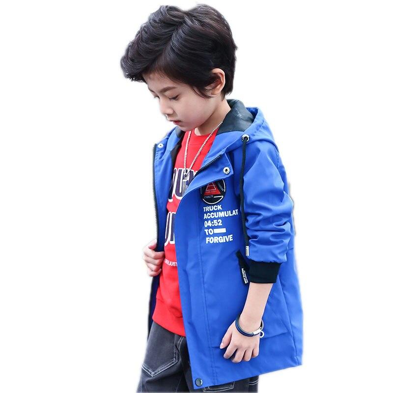 children spring/autumn jackets letter printed kids jackets for boys hooded boys windbreaker coat boys outwear 4-15T kids trench