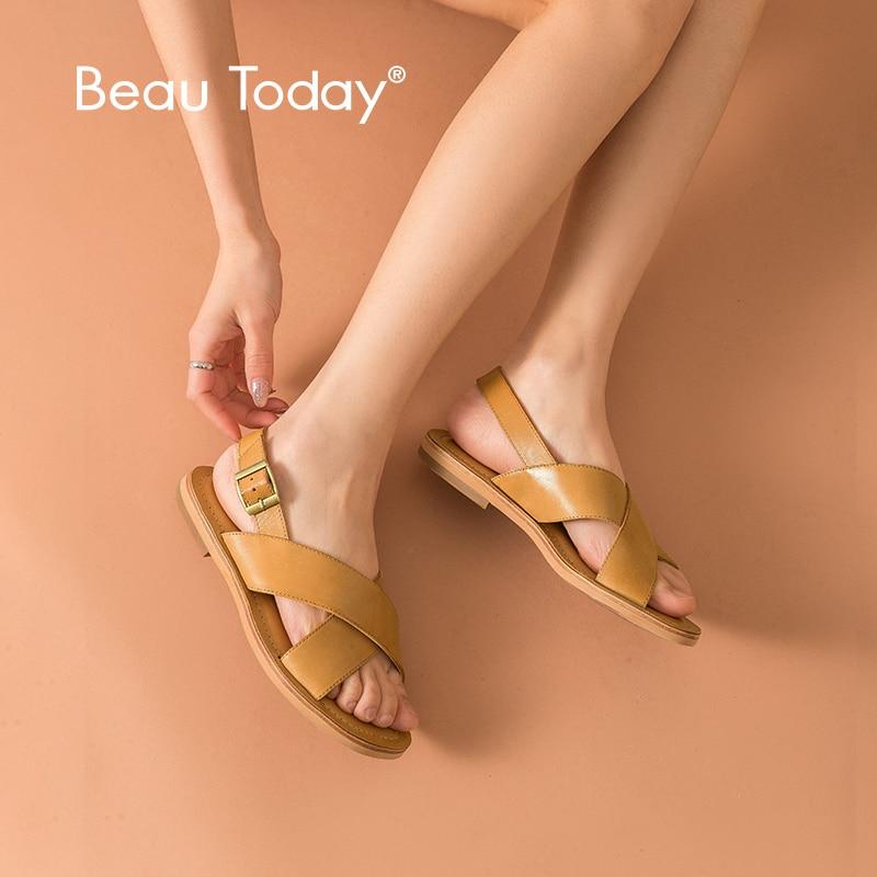 BeauToday Plana Sandálias de Verão Genuíno Couro De Bezerro Cinta Fivela Estilo Suave de Qualidade Superior Das Senhoras Sapatos Casuais 32050