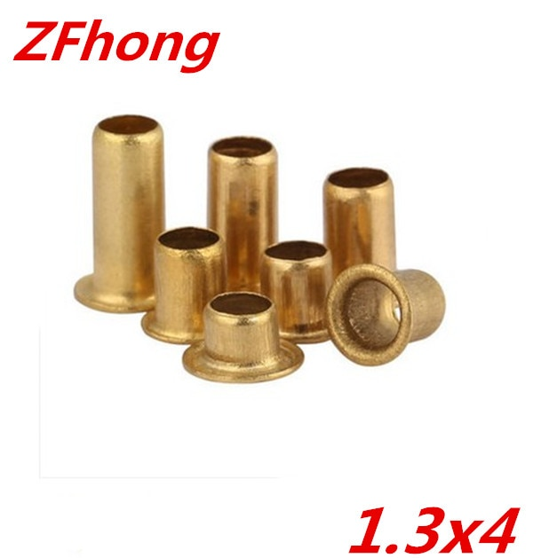 Rebites tubulares de cobre, rebites ocos de cobre de 1000x4mm 1.3mm com 1.3 peças