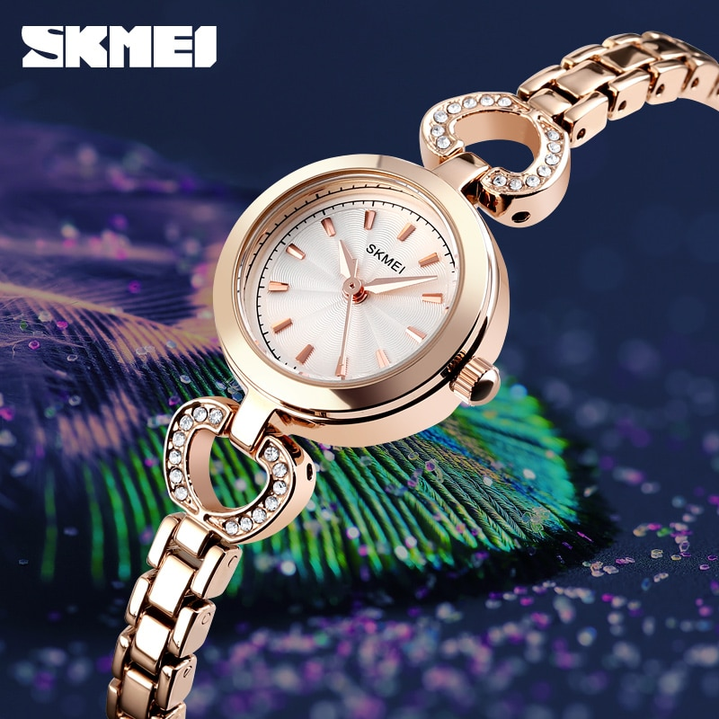 2019 SKMEI Luxury Quartz Watches Women Wristwatches Fashion Casual Simple 3bar Waterproof Alloy Band Ladies Watch Reloj Mujer enlarge