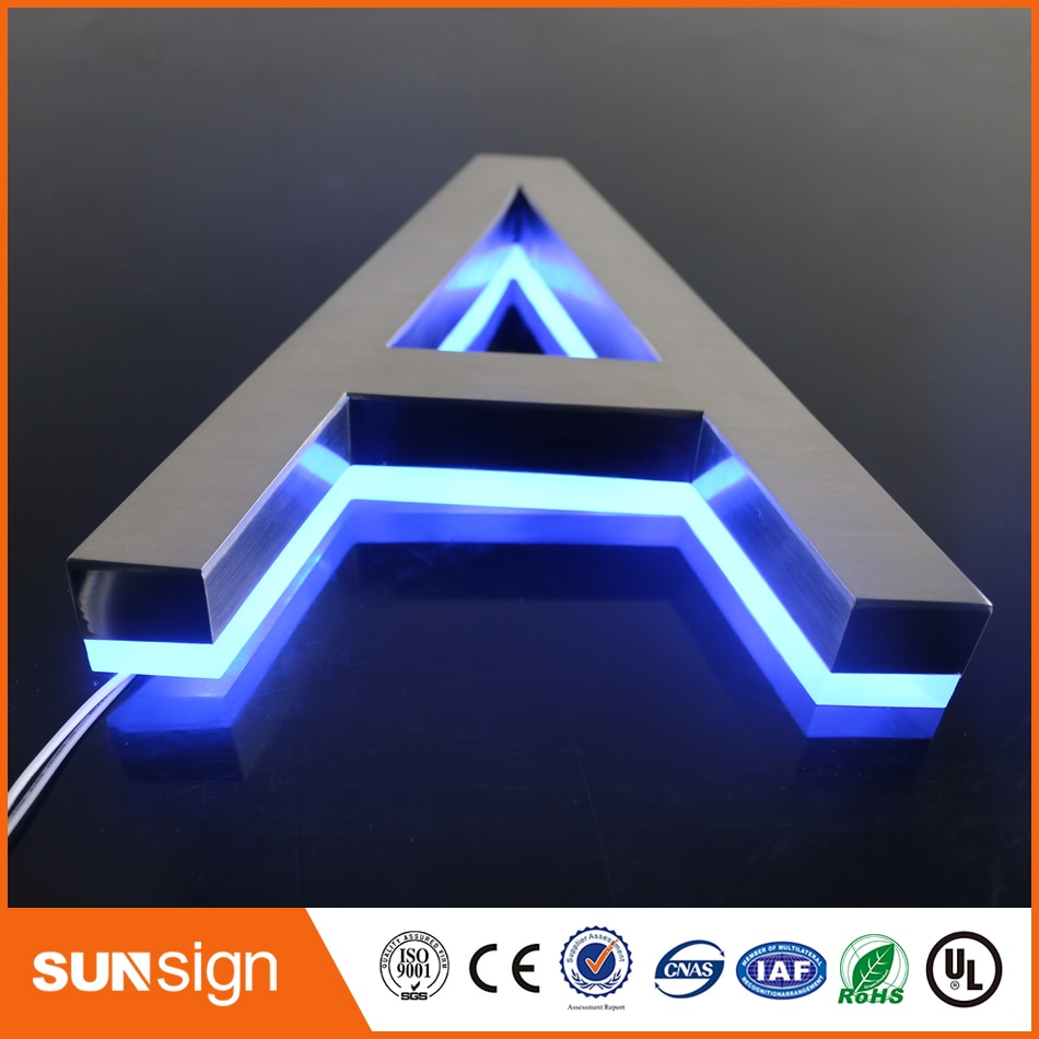 H25cm one letter Backlit stainless steel Signage for Advertising 3D illuminated shop front LED letters signs недорого