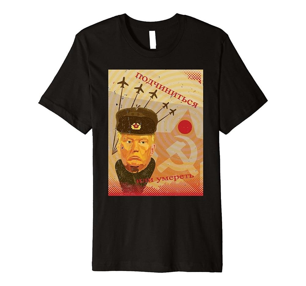 ¡Novedad de 2019! Camiseta de verano para hombre, camiseta divertida Retro con cartel de Propaganda rusa de Trump