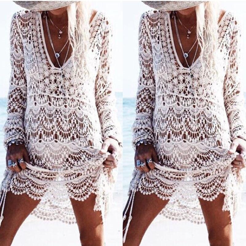 Сексуальное бикини-саронг, Пляжное кружевное трикотажное платье с вышивкой «кроше», пляжное покрывало, белый бандаж, Женский накидка