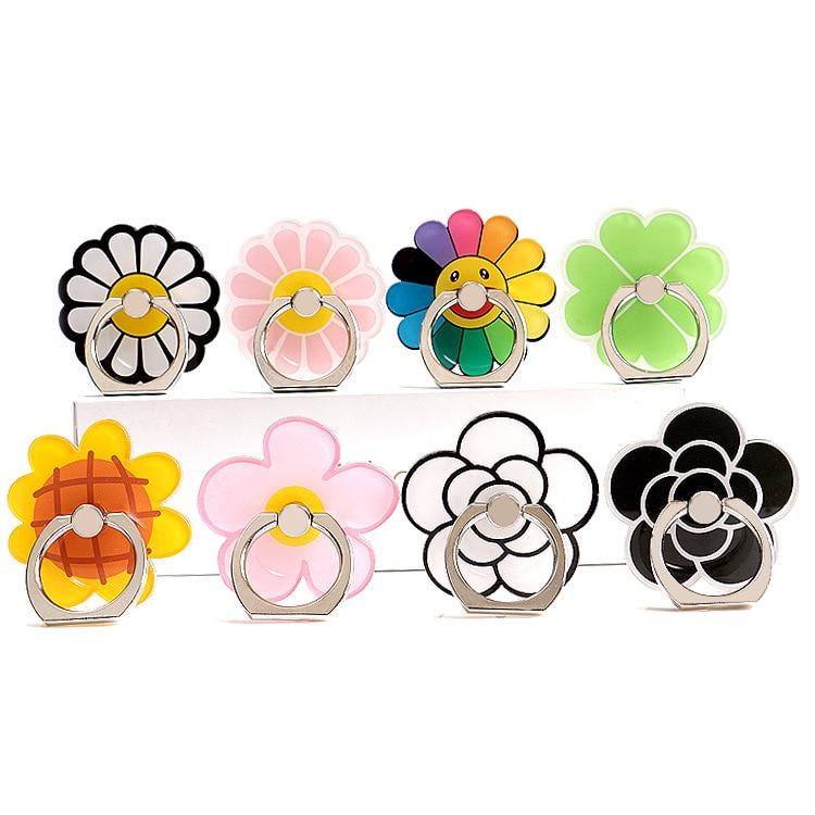 360 grados flores personaje dedo anillo Smartphone soporte teléfono móvil soporte para iPhone todo teléfono