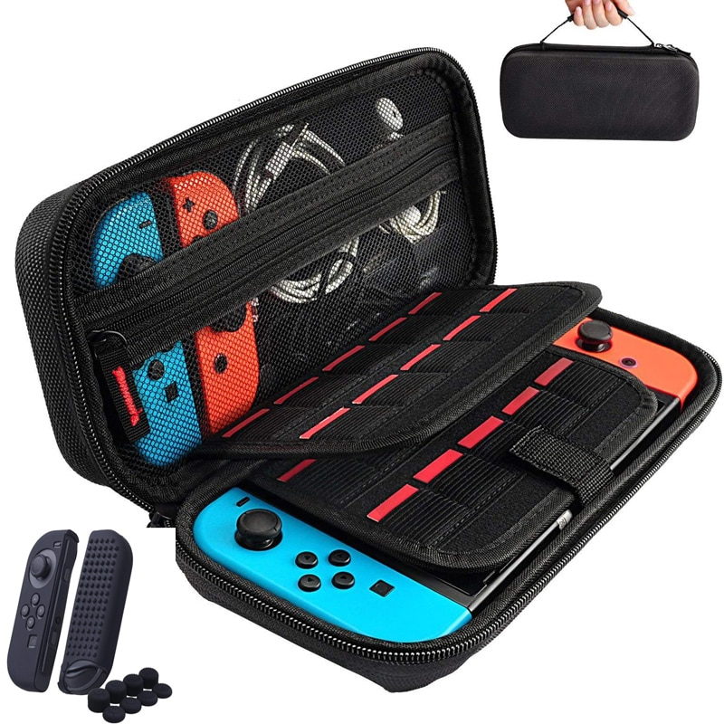 ns travel carrying case 19 game shell card holders pouch bag for nintend switch console and accessories joycon case thumb grips Storage Bag for Nintend Switch Nintendos Switch Console Handheld Carrying Case 19 Game Card Holders Pouch For Nintendoswitch