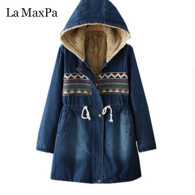 La MaxPa 2020 Autumn Winter New Women Denim Jacket Loose Cotton Warm Female Casual Tops Vintage Hooded Large Size Lady Coat