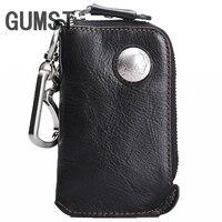 Men's Car Keys Wallets Genuine Cowhide Leather Male Key Holder Organizer Housekeeper Keychain Purse Key Ring Bag Keys Case Pouch