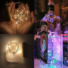 Guirlande à LED de 2 M, fil de cuivre, guirlande de lumières de fée pour bouteille artisanale en verre, nouvel an/noël/saint-valentin, décoration de mariage