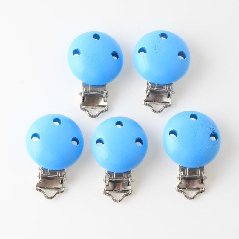 5 uds. De Clips de madera azul cielo para chupete de bebé, soportes metálicos de madera, bonitos chupete infantil, cierres, accesorios para mordedores de bebé