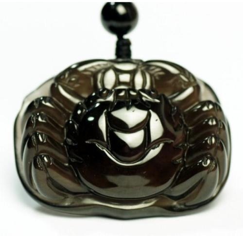 Koraba joyería fina hecha a mano PIEDRA DE Obsidiana natural tallada a mano cangrejo encanto Hanmdade colgante con cuentas envío gratis