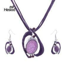 Hesiod Handgemachte Hohe Qualität Big Emaille Schmuck Sets Halskette und Ohrring Set Bijoux Femme Afrikanische Halskette Sets Schmuck Set