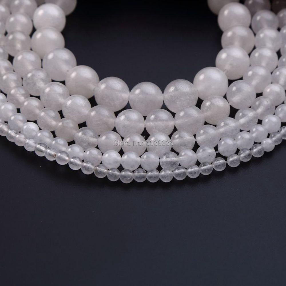 Cuentas espaciadoras sueltas redondas de piedra Natural de Jades blancas al por mayor para hacer joyas 4/6/8/10/ collar de pulsera DIY de 12mm