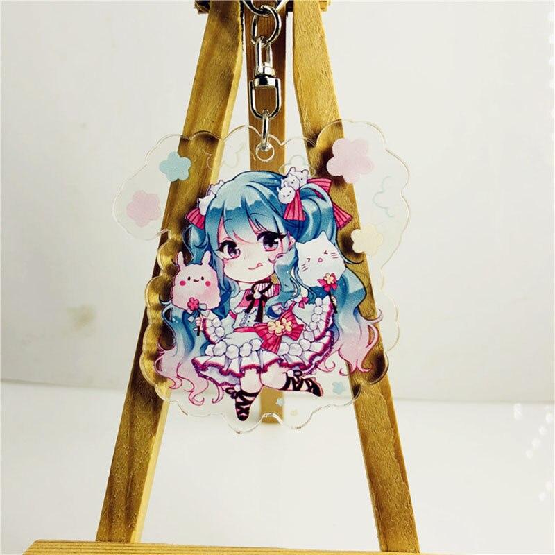 LLavero de acrílico de Anime Hatsune Miku, llavero colgante de Luo Tianyi, juego transparente japonés, llavero de cebolla verde