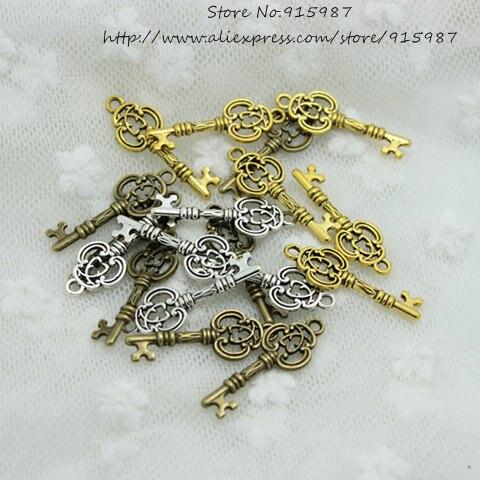 Милый звонок, 100 шт., 10*27 мм, три цвета, винтажные металлические ключи из сплава, подвески для ювелирных изделий, Подвески для изготовления ювелирных изделий 2B163