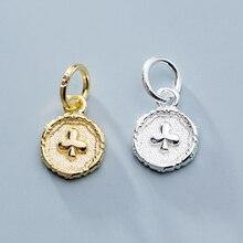 Mode 925 argent Sterling médaillon fleur breloques 7.5mm petit haute qualité S925 argent filles pendentifs bijoux à bricoler soi-même accessoires